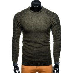 SWETER MĘSKI E138 - KHAKI. Brązowe swetry klasyczne męskie marki Inny, m, z bawełny. Za 49,00 zł.