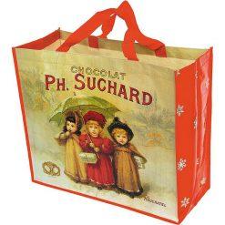"""Torba """"Chocolat Suchard"""" w kolorze beżowo-czerwonym na zakupy - 46 x 40 x 19 cm. Brązowe shopper bag damskie Éditions Clouet, z nadrukiem, z tworzywa sztucznego, z nadrukiem. W wyprzedaży za 26,95 zł."""