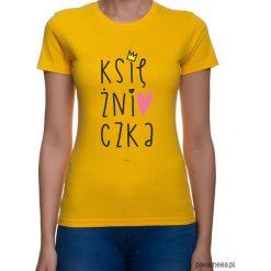 Koszulka damska. księżniczka. Pomarańczowe bluzki z odkrytymi ramionami marki Pakamera, z nadrukiem. Za 79,00 zł.