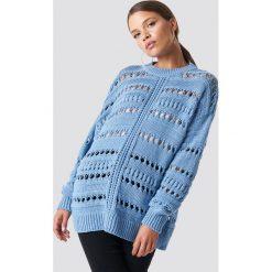MANGO Sweter ażurowy - Blue. Niebieskie swetry oversize damskie Mango, z dzianiny. Za 161,95 zł.