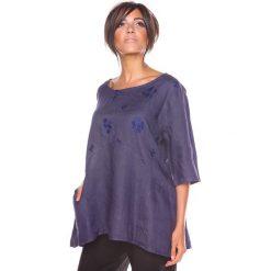 """Bluzki asymetryczne: Lniana koszulka """"Shira"""" w kolorze granatowym"""