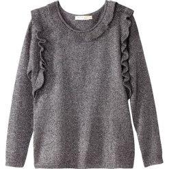 Kardigany damskie: Sweter z okrągłym dekoltem, dzianina o drobnym splocie