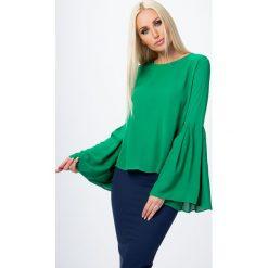 Bluzki damskie: Bluzka z dzwonowatymi rękawami zielona MP28491