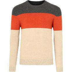 Swetry męskie: Sweter w kolorze szaro-pomarańczowo-kremowym