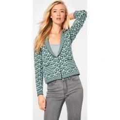 Odzież damska: Sweter rozpinany w kolorze miętowo-szarym