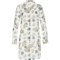 Długa bluzka bonprix biel wełny z nadrukiem. Białe bluzki asymetryczne bonprix, z nadrukiem, z materiału, z długim rękawem. Za 69,99 zł.