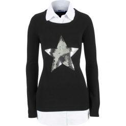 Sweter 2 w 1 z koszulową wstawką, długi rękaw bonprix czarny. Czarne swetry klasyczne damskie bonprix, z koszulowym kołnierzykiem. Za 119,99 zł.