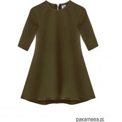 Sukienka dresowa dziecięca typu klosz khaki. Brązowe sukienki dziewczęce marki Pakamera, z dresówki. Za 69,00 zł.