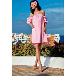 Idealna sukienka bez ramion  pudrowy róż FIFI. Czerwone sukienki balowe marki Lemoniade, na co dzień, na lato, l, z klasycznym kołnierzykiem, w kształcie a. Za 159,90 zł.