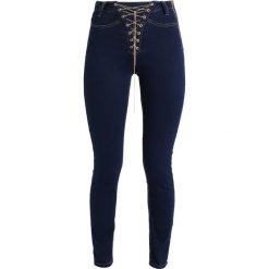 Rurki damskie: Missguided VICE HIGH WAIST CHAIN LACE UP SKINNY Jeans Skinny Fit blue