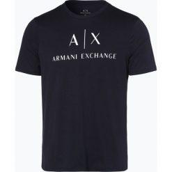 Armani Exchange - T-shirt męski, niebieski. Czarne t-shirty męskie z nadrukiem marki Armani Exchange, l, z materiału, z kapturem. Za 139,95 zł.