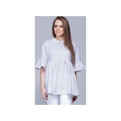 Luźna koszulowa bluzka wzorzysta  H011. Szare bluzki damskie marki Harmony, s, z bawełny, z koszulowym kołnierzykiem. Za 147,00 zł.