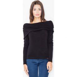Bluzki asymetryczne: Dzianinowa Czarna Bluzka z Obfitym Golfem