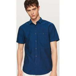 Koszule męskie: Elegancka koszula z krótkim rękawem regular fit – Granatowy