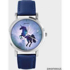 Zegarek - Jednorożec - granatowy, skórzany. Niebieskie zegarki damskie Pakamera. Za 139,00 zł.