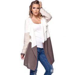 Swetry damskie: Sweter w kolorze ecru-beżowo-brązowym
