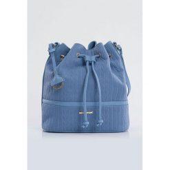 Torebka-worek z subtelnym wzorem. Brązowe torebki worki marki Monnari, w paski, z materiału, średnie. Za 109,50 zł.