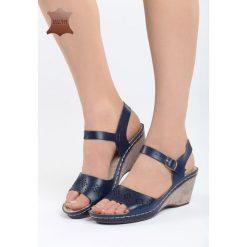 Sandały damskie: Granatowe Skórzane Sandały Contact