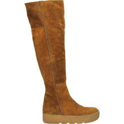 Kozaki - DEMY5 CRO TAB. Brązowe buty zimowe damskie marki Kazar, ze skóry, przed kolano, na wysokim obcasie. Za 269,00 zł.
