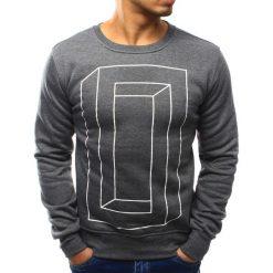 Bluzy męskie: Bluza męska bez kaptura z nadrukiem antracytowa (bx3056)