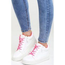 Białe Sneakersy I Promise You. Pomarańczowe sneakersy damskie marki Born2be, z materiału. Za 89,99 zł.