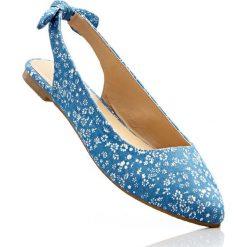 Baleriny z paskiem na pięcie bonprix niebieski dżins - piaskowy w kwiatową łączkę. Brązowe baleriny damskie z kokardą marki Kazar, ze skóry, na wysokim obcasie. Za 54,99 zł.