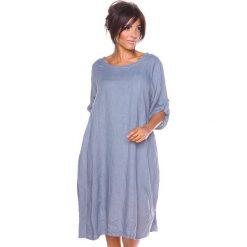 """Sukienki hiszpanki: Lniana sukienka """"Sarah"""" w kolorze szarym"""