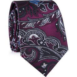 Krawat KWWR001778. Czarne krawaty męskie Giacomo Conti, paisley, z mikrofibry, eleganckie. Za 69,00 zł.