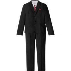 Garnitur + koszula + krawat (4 części) bonprix czarno-biały. Czarne koszule chłopięce marki bonprix, w paski, z dresówki. Za 199,99 zł.