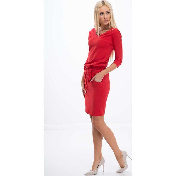 fa931e7bf8 Czerwona Sukienka Wiązana w Talii 9729 - Sukienki damskie . Za 59,00 ...