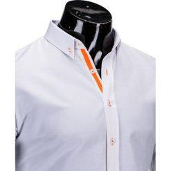 KOSZULA MĘSKA Z DŁUGIM RĘKAWEM K300 - BIAŁA. Brązowe koszule męskie na spinki marki Ombre Clothing, m, z aplikacjami, z kontrastowym kołnierzykiem, z długim rękawem. Za 39,00 zł.
