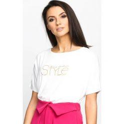 Biały T-shirt Prominent. Białe bluzki damskie marki Born2be, l. Za 19,99 zł.