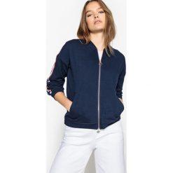 Rozpinana bluza, detale na rękawach. Szare bluzy rozpinane damskie marki La Redoute Collections, m, z bawełny, z kapturem. Za 126,38 zł.