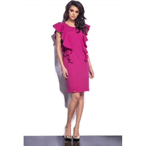 b57f7100c4 Elegancka sukienka z falbankami fuksja - Czerwone sukienki damskie ...