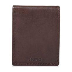 Portfele męskie: Skórzany portfel w kolorze ciemnobrązowym – 10 x 12,5 x 2 cm