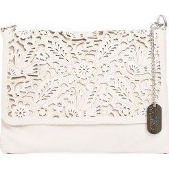 Torebki klasyczne damskie: Skórzana torebka w kolorze beżowym – 27 x 22 x 1 cm