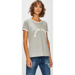 Roxy - Top. Szare topy damskie marki Roxy, l, z aplikacjami, z bawełny, z okrągłym kołnierzem. W wyprzedaży za 99,90 zł.