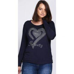 Granatowa Bluzka Girls Night Out. Czarne bluzki asymetryczne Born2be, xl, z aplikacjami, z okrągłym kołnierzem, z długim rękawem. Za 34,99 zł.