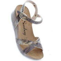 Rzymianki damskie: Sandały w kolorze beżowo-złotym