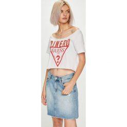 Guess Jeans - Top. Szare topy damskie marki Guess Jeans, na co dzień, l, z aplikacjami, z bawełny, casualowe, z okrągłym kołnierzem, mini, dopasowane. Za 199,90 zł.