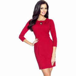 Bordowa Sukienka Bodycon z Łezką przy Dekolcie. Czerwone sukienki balowe Molly.pl, do pracy, s, z wiskozy, bodycon. W wyprzedaży za 65,94 zł.