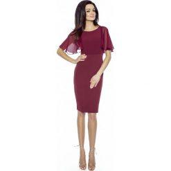 Sukienki: Bordowa Ołówkowa Sukienka z Szyfonowym Rękawkiem
