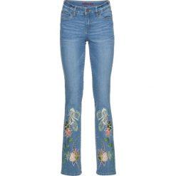 Dżinsy SLIM z haftem  w dole nogawki bonprix niebieski bleached. Niebieskie jeansy damskie marki House, z jeansu. Za 89,99 zł.