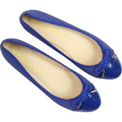 Baleriny damskie: Baleriny damskie ażurowe niebieskie Sabatina