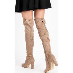 Buty zimowe damskie: ZAMSZOWE KOZAKI NA SŁUPKU