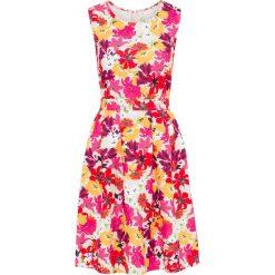 Sukienka w kwiatowy deseń bonprix piaskowy w kwiaty. Brązowe sukienki marki bonprix, w kwiaty, z neoprenu, z okrągłym kołnierzem. Za 59,99 zł.
