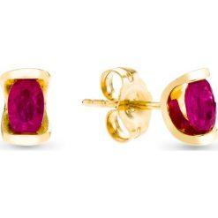 Kolczyki damskie: PROMOCJA Złote Kolczyki – złoto żółte 585, Rubin