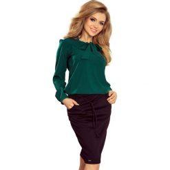 Zielona Bluzka Elegancka z Wiązaną Szarfą. Zielone bluzki longsleeves marki Molly.pl, m, z jeansu, biznesowe. Za 109,90 zł.