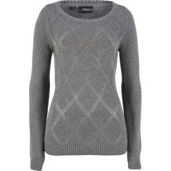 Sweter w ażurowy wzór bonprix szary melanż. Szare swetry klasyczne damskie bonprix. Za 37,99 zł.