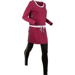 Długa bluza z legginsami sportowymi (kompl. 2-częściowy) bonprix czerwony rododendron. Fioletowe bluzy sportowe damskie bonprix, z długim rękawem, długie. Za 129,99 zł.